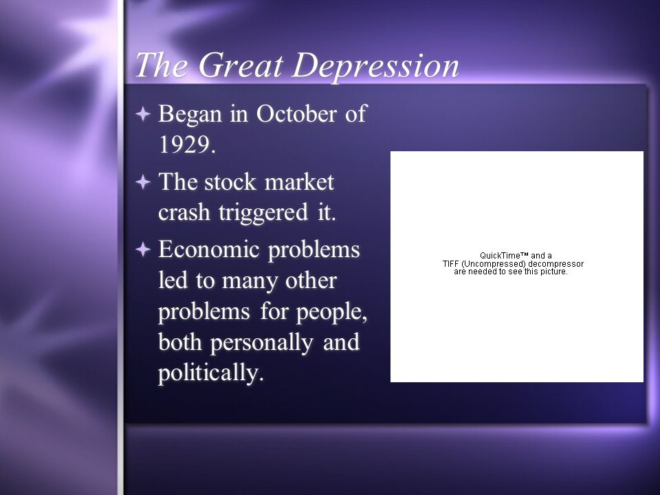 The Great Depression Began in October of 1929. The stock market crash triggered it.