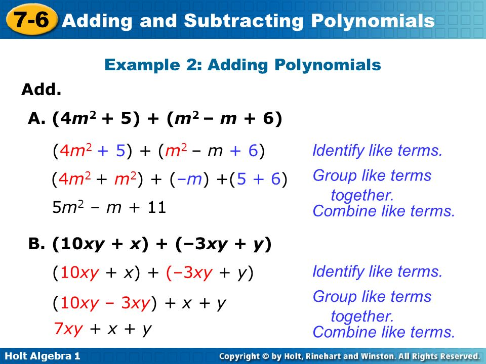 Holt Algebra 1 7-6 Adding and Subtracting Polynomials Add.