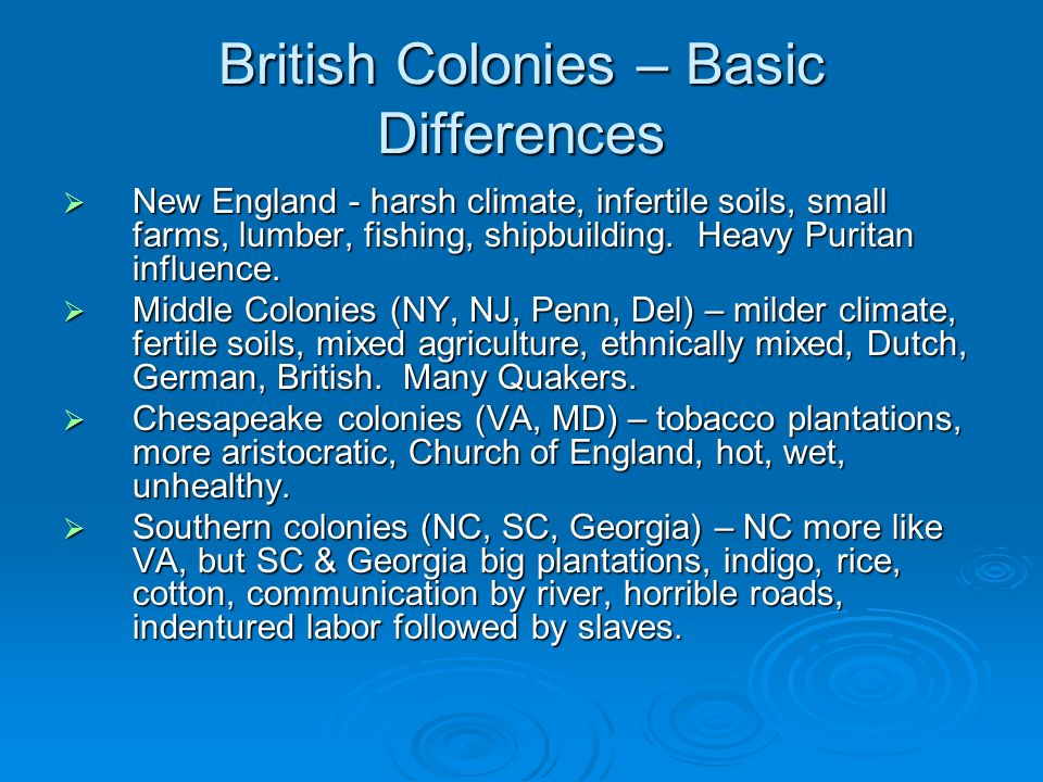 British Colonies – Basic Differences New England - harsh climate, infertile soils, small farms, lumber, fishing, shipbuilding. Heavy Puritan influence