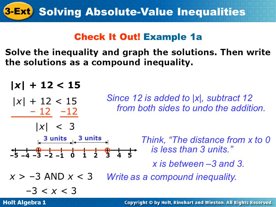 Holt Algebra 1 3-Ext Solving Absolute-Value Inequalities Check It Out.