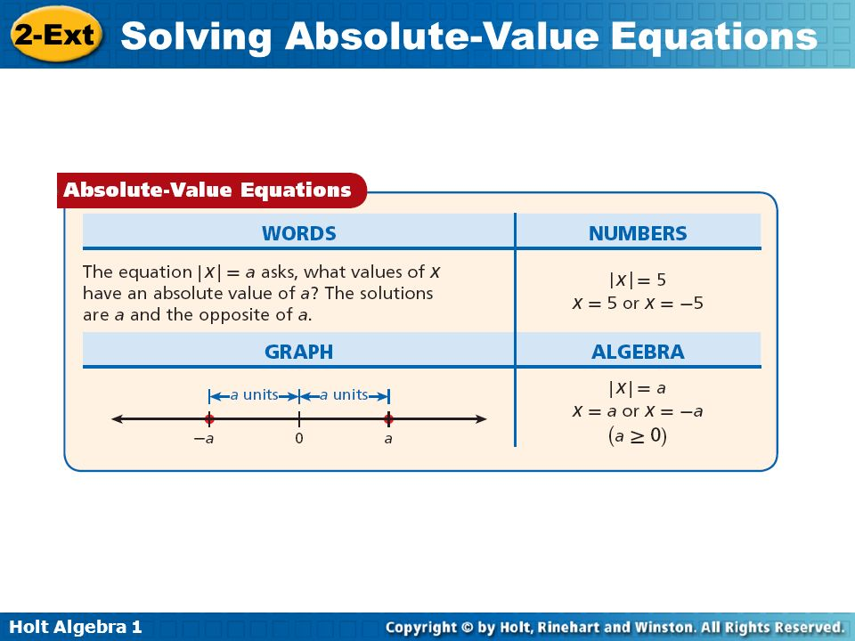 Holt Algebra 1 2-Ext Solving Absolute-Value Equations