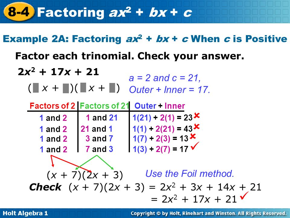 Printables Factoring Ax2 Bx C Worksheet Answers holt algebra factoring ax 2 bx c 8 4 1 example 2a