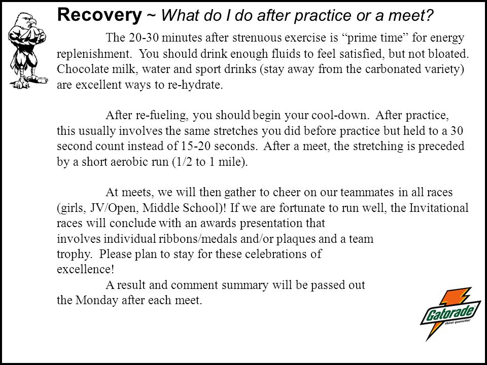 Recovery ~ What do I do after practice or a meet.
