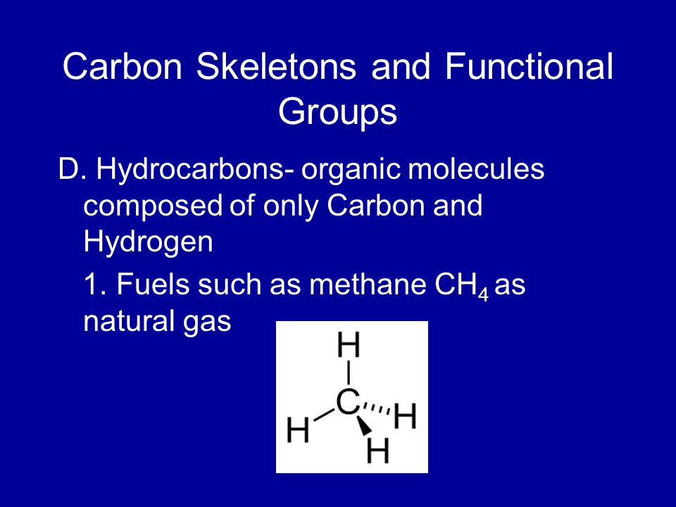 Carbon Skeletons and Functional Groups D. Hydrocarbons- organic molecules composed of only Carbon and Hydrogen 1. Fuels such as methane CH 4 as natura