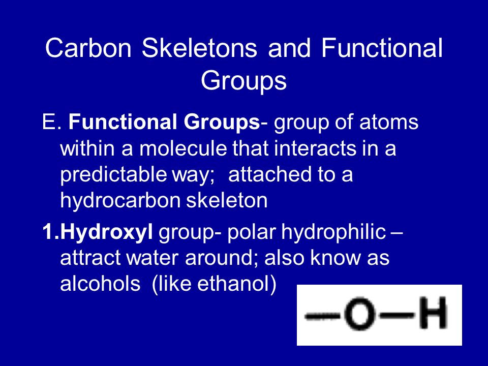 Carbon Skeletons and Functional Groups E. Functional Groups- group of atoms within a molecule that interacts in a predictable way; attached to a hydro