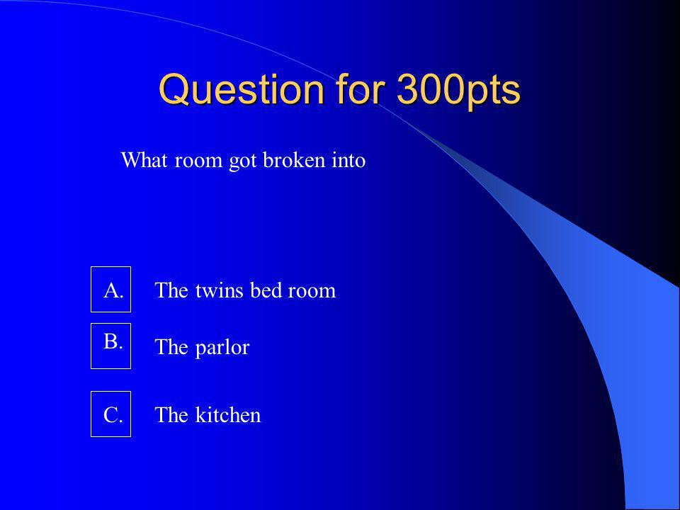 Question for 300pts What room got broken into A. B. C.The kitchen The parlor The twins bed room