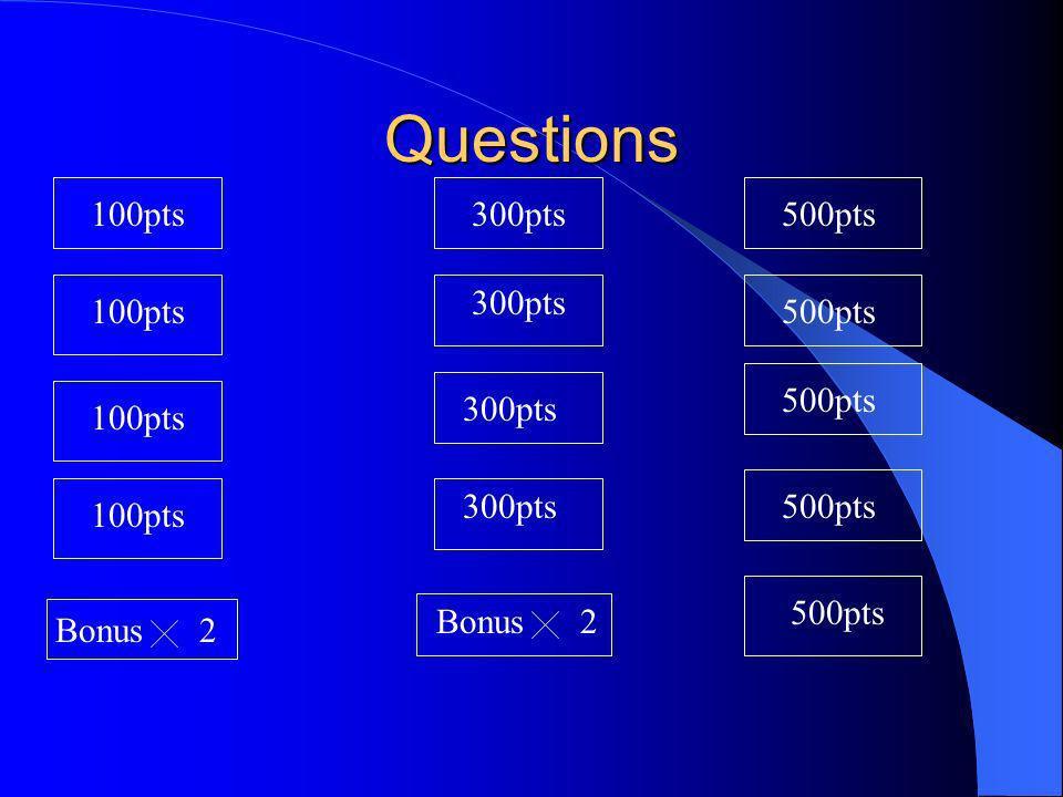 Questions 100pts 300pts Bonus 2 500pts