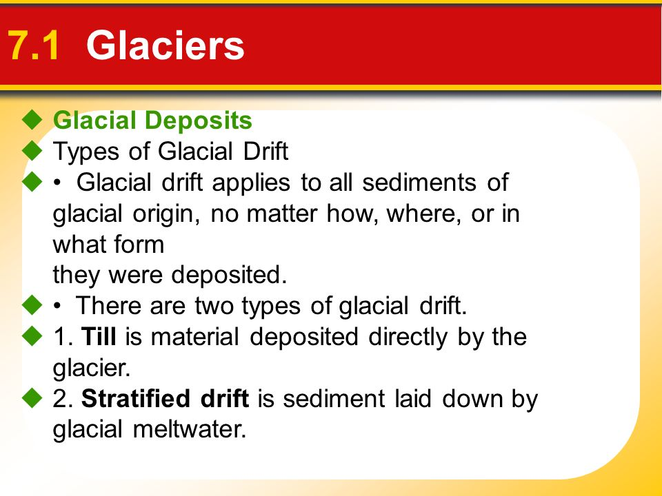 7.1 Glaciers Glacial Deposits Types of Glacial Drift Glacial drift applies to all sediments of glacial origin, no matter how, where, or in what form t
