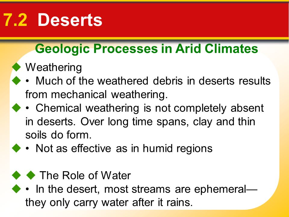 Geologic Processes in Arid Climates 7.2 Deserts Weathering Much of the weathered debris in deserts results from mechanical weathering. Chemical weathe