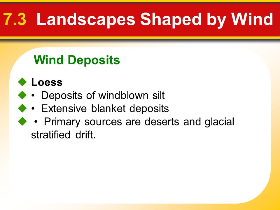 Wind Deposits 7.3 Landscapes Shaped by Wind Loess Deposits of windblown silt Extensive blanket deposits Primary sources are deserts and glacial strati