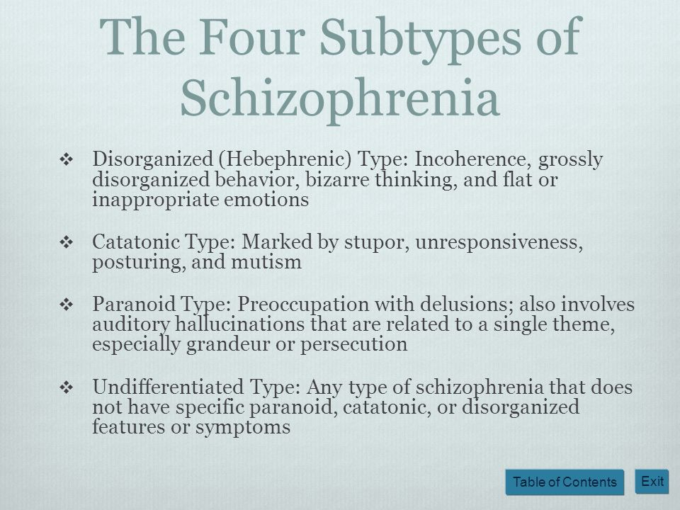 Table of Contents Exit The Four Subtypes of Schizophrenia Disorganized (Hebephrenic) Type: Incoherence, grossly disorganized behavior, bizarre thinkin