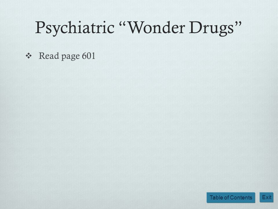 Table of Contents Exit Psychiatric Wonder Drugs Read page 601