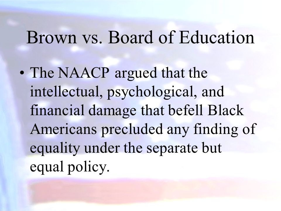 Linda Carol Brown, was not allowed to attend a school four blocks from her house because it was for white students.