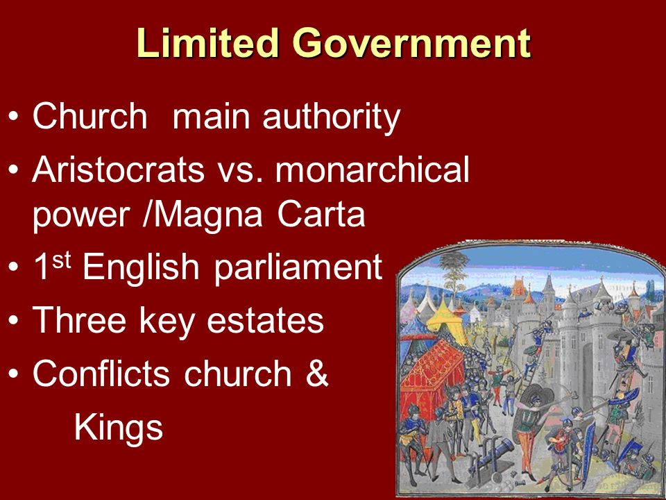 Limited Government Church main authority Aristocrats vs. monarchical power /Magna Carta 1 st English parliament Three key estates Conflicts church & K