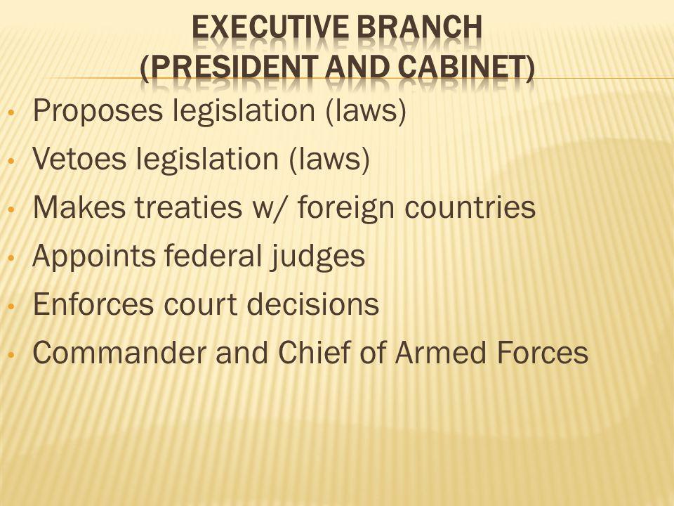 Proposes legislation (laws) Vetoes legislation (laws) Makes treaties w/ foreign countries Appoints federal judges Enforces court decisions Commander a