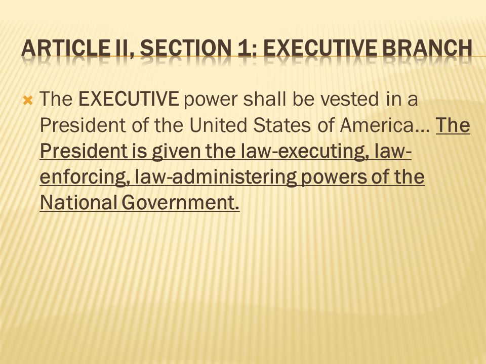 The EXECUTIVE power shall be vested in a President of the United States of America… The President is given the law-executing, law- enforcing, law-administering powers of the National Government.