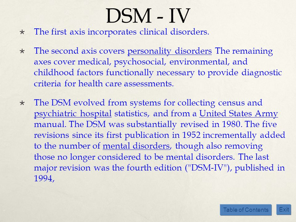 Table of Contents Exit DSM - IV The first axis incorporates clinical disorders. The second axis covers personality disorders The remaining axes cover