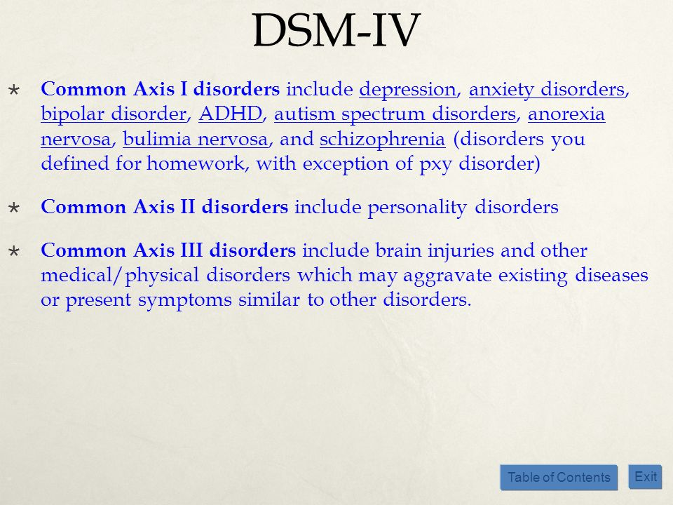 Table of Contents Exit DSM-IV Common Axis I disorders include depression, anxiety disorders, bipolar disorder, ADHD, autism spectrum disorders, anorex