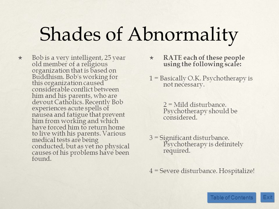 Table of Contents Exit Shades of Abnormality Bob is a very intelligent, 25 year old member of a religious organization that is based on Buddhism. Bob'