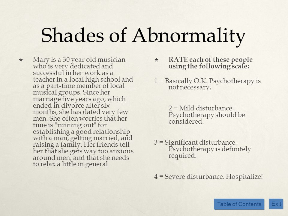 Table of Contents Exit Shades of Abnormality Mary is a 30 year old musician who is very dedicated and successful in her work as a teacher in a local h