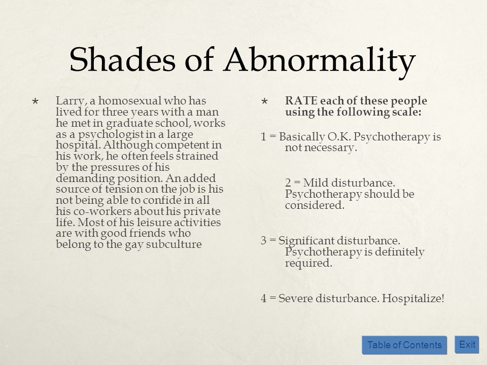 Table of Contents Exit Shades of Abnormality Larry, a homosexual who has lived for three years with a man he met in graduate school, works as a psycho