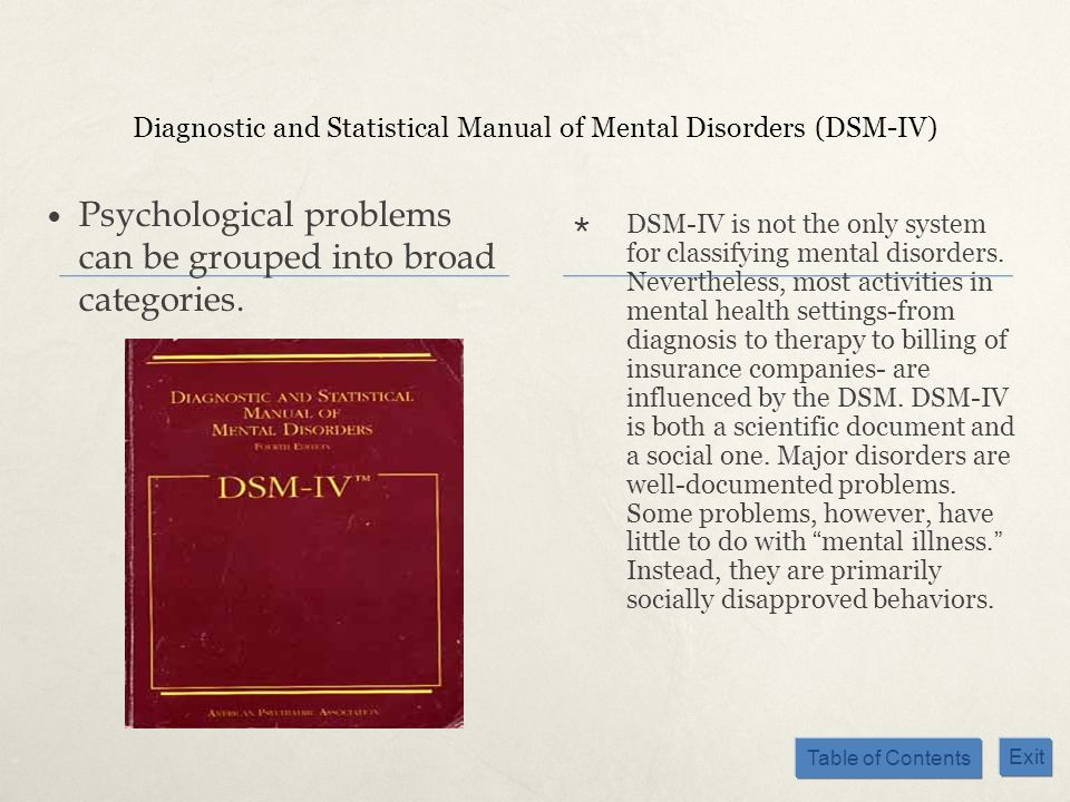 Table of Contents Exit Diagnostic and Statistical Manual of Mental Disorders (DSM-IV) Psychological problems can be grouped into broad categories. DSM