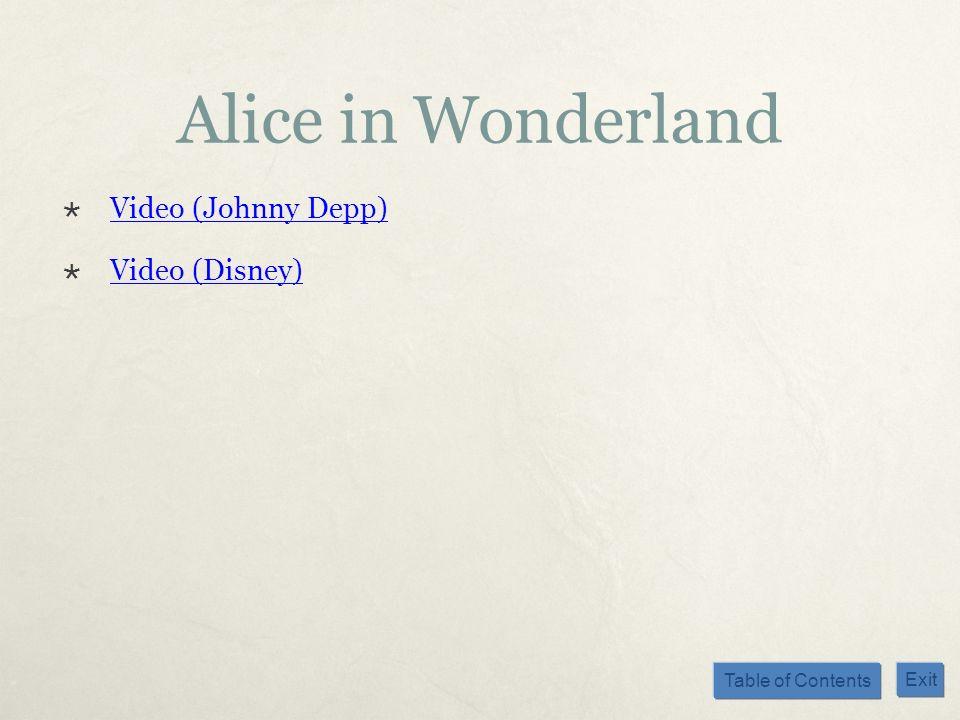 Table of Contents Exit Alice in Wonderland Video (Johnny Depp) Video (Disney)