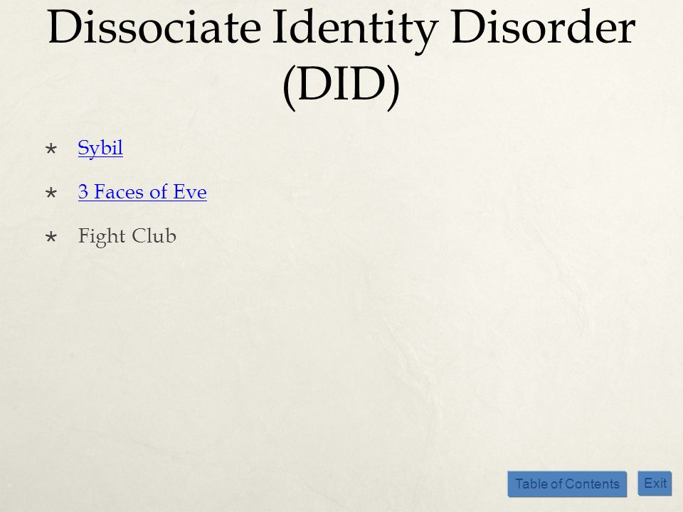 Table of Contents Exit Dissociate Identity Disorder (DID) Sybil 3 Faces of Eve Fight Club