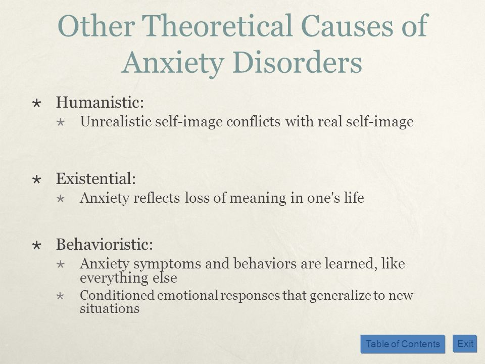 Table of Contents Exit Other Theoretical Causes of Anxiety Disorders Humanistic: Unrealistic self-image conflicts with real self-image Existential: An