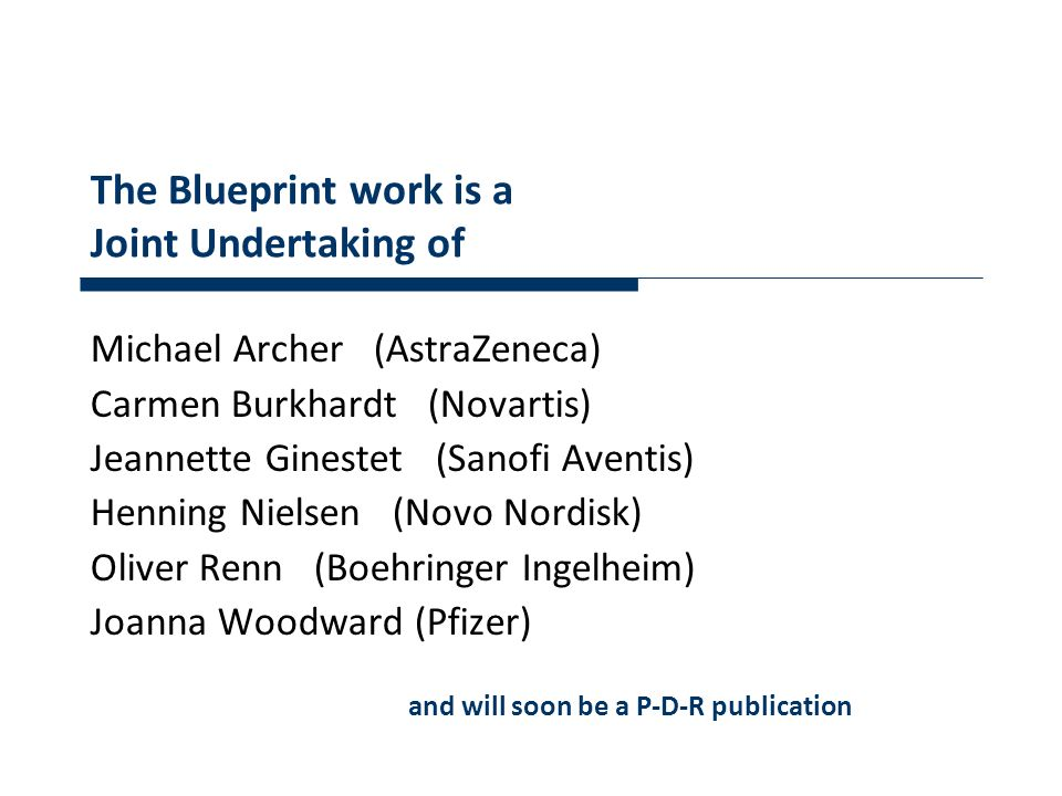 The Blueprint work is a Joint Undertaking of Michael Archer (AstraZeneca) Carmen Burkhardt (Novartis) Jeannette Ginestet (Sanofi Aventis) Henning Niel