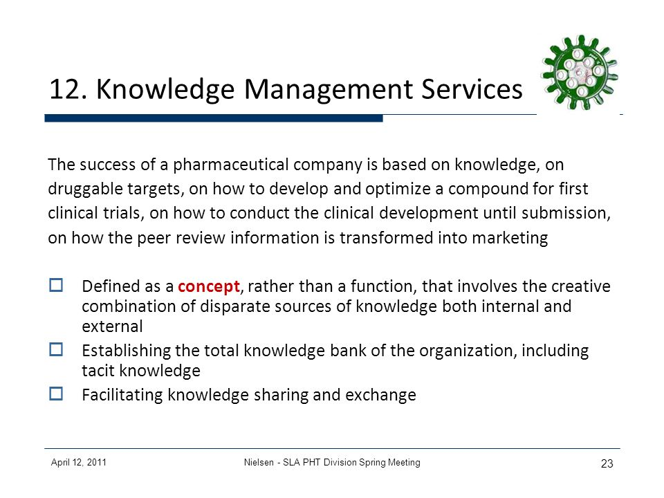 April 12, 2011Nielsen - SLA PHT Division Spring Meeting 23 12. Knowledge Management Services The success of a pharmaceutical company is based on knowl