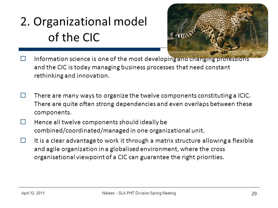 April 12, 2011Nielsen - SLA PHT Division Spring Meeting 29 2. Organizational model of the CIC Information science is one of the most developing and ch