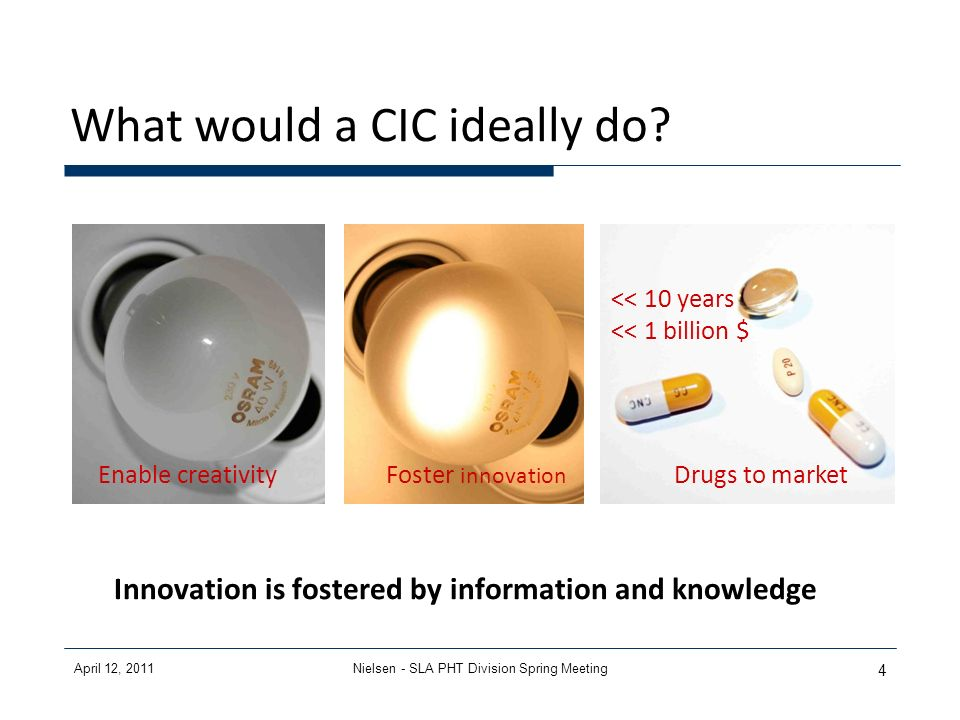 April 12, 2011Nielsen - SLA PHT Division Spring Meeting 4 What would a CIC ideally do? << 10 years << 1 billion $ Enable creativityFoster innovation D