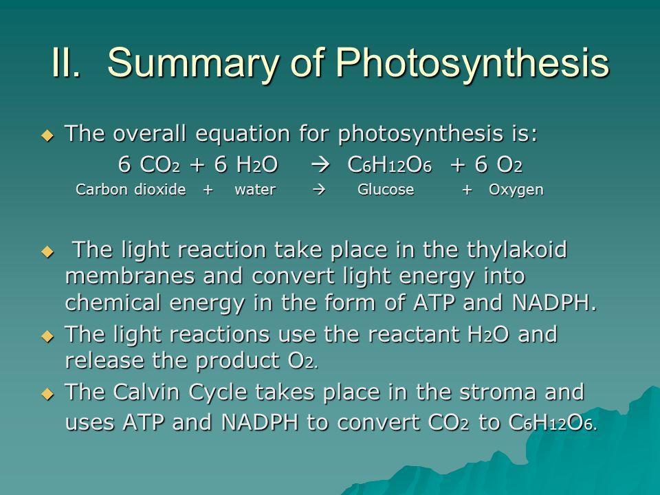 II. Summary of Photosynthesis The overall equation for photosynthesis is: The overall equation for photosynthesis is: 6 CO 2 + 6 H 2 O C 6 H 12 O 6 +
