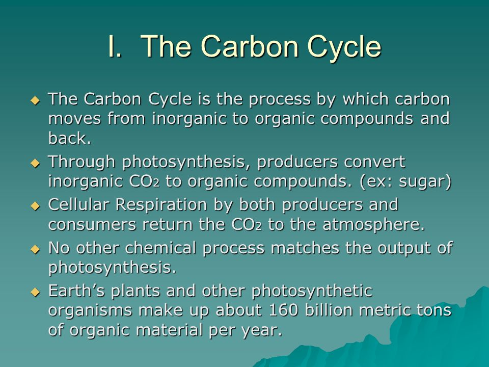 I. The Carbon Cycle The Carbon Cycle is the process by which carbon moves from inorganic to organic compounds and back. The Carbon Cycle is the proces