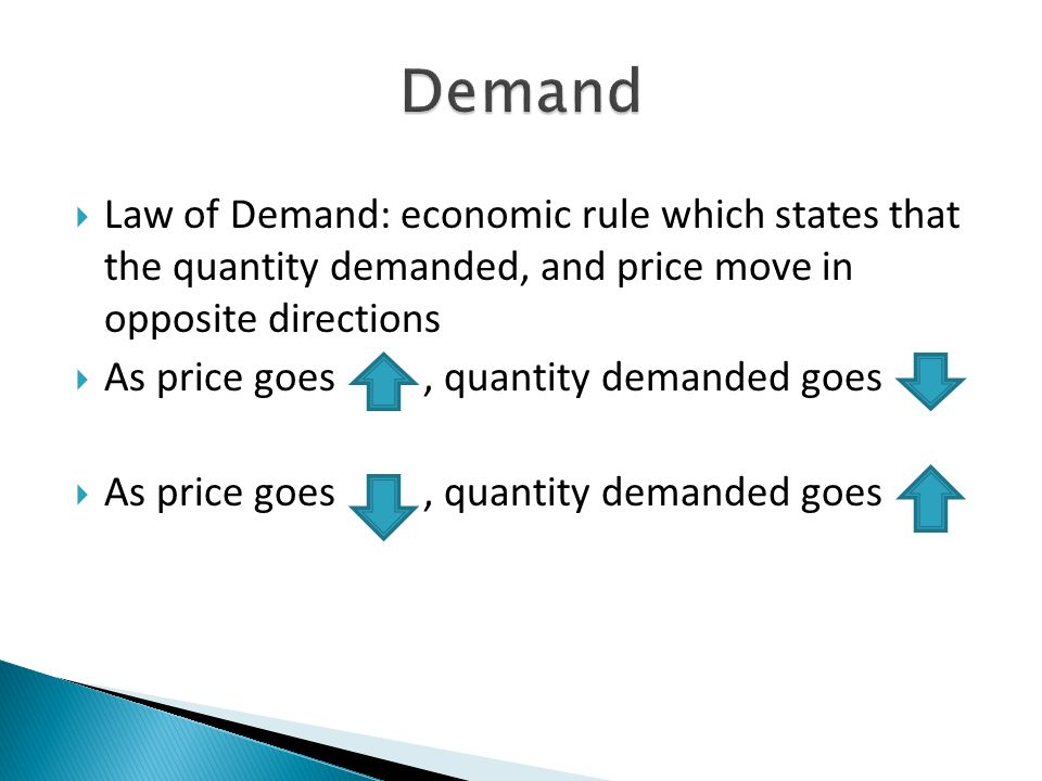 Law of Demand: economic rule which states that the quantity demanded, and price move in opposite directions As price goes, quantity demanded goes