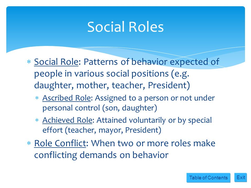 Table of Contents Exit Social Role: Patterns of behavior expected of people in various social positions (e.g. daughter, mother, teacher, President) As
