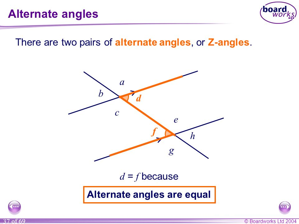 © Boardworks Ltd 2004 37 of 69 ff dd Alternate angles There are two pairs of alternate angles, or Z-angles. d = f because Alternate angles are equal a