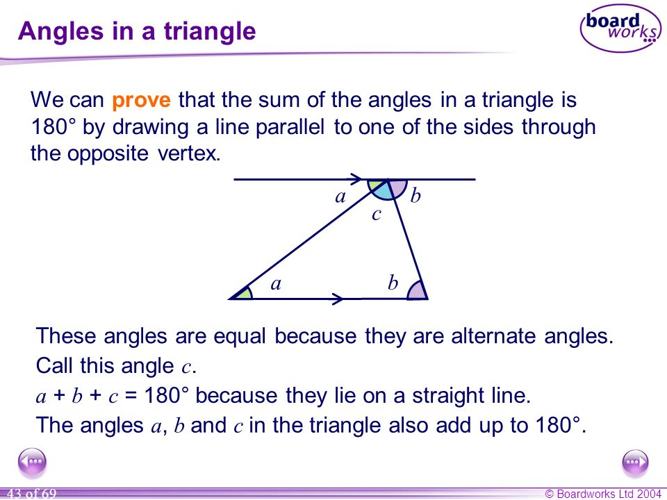 © Boardworks Ltd 2004 43 of 69 Angles in a triangle We can prove that the sum of the angles in a triangle is 180° by drawing a line parallel to one of