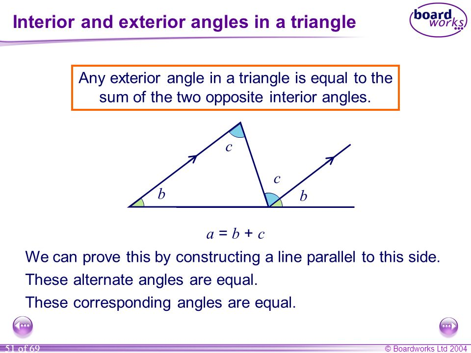 © Boardworks Ltd 2004 51 of 69 Interior and exterior angles in a triangle a b c Any exterior angle in a triangle is equal to the sum of the two opposi