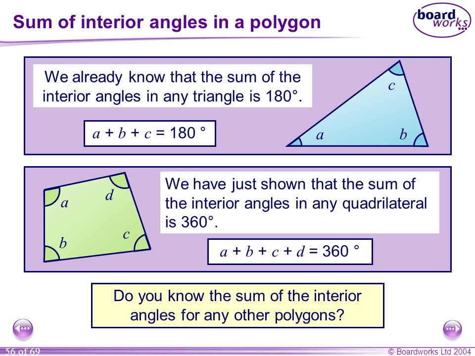 © Boardworks Ltd 2004 56 of 69 Sum of interior angles in a polygon We already know that the sum of the interior angles in any triangle is 180°. a + b