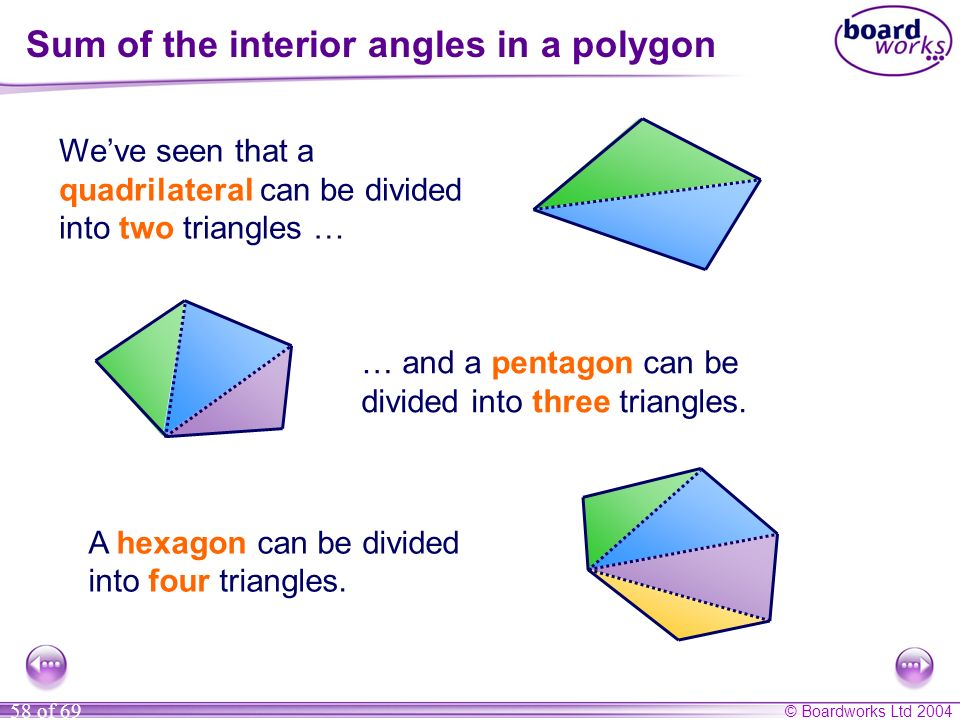 © Boardworks Ltd 2004 58 of 69 Sum of the interior angles in a polygon Weve seen that a quadrilateral can be divided into two triangles … … and a pent