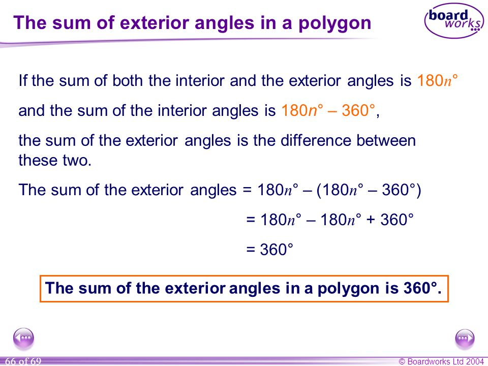 © Boardworks Ltd 2004 66 of 69 The sum of exterior angles in a polygon If the sum of both the interior and the exterior angles is 180 n ° and the sum