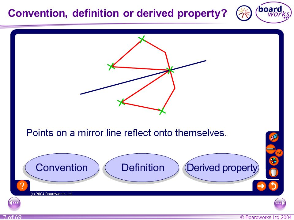 © Boardworks Ltd 2004 7 of 69 Convention, definition or derived property?