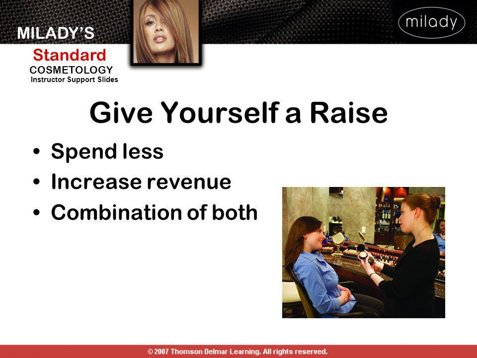 MILADYS Standard Instructor Support Slides COSMETOLOGY Give Yourself a Raise Spend less Increase revenue Combination of both