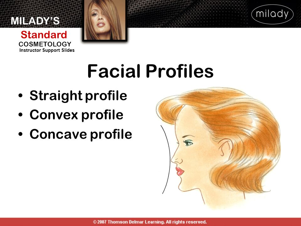 MILADYS Standard Instructor Support Slides COSMETOLOGY Facial Profiles Straight profile Convex profile Concave profile