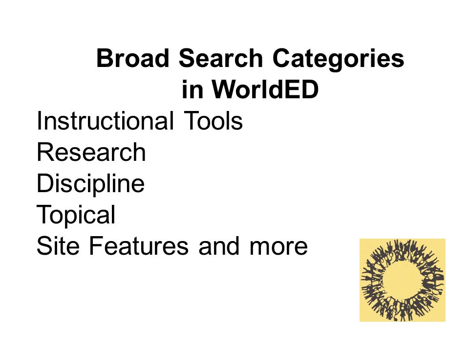 Broad Search Categories in WorldED Instructional Tools Research Discipline Topical Site Features and more