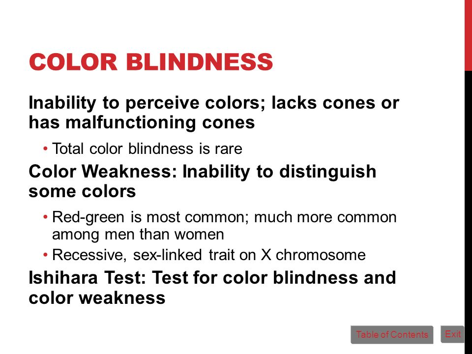 COLOR BLINDNESS Inability to perceive colors; lacks cones or has malfunctioning cones Total color blindness is rare Color Weakness: Inability to disti