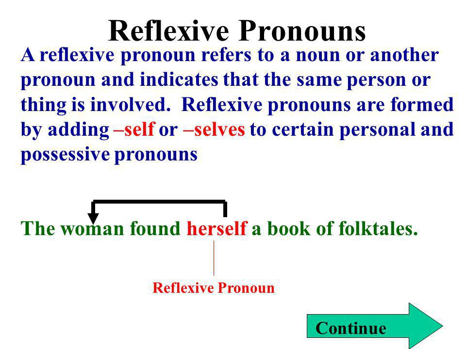 Reflexive Pronouns Continue A reflexive pronoun refers to a noun or another pronoun and indicates that the same person or thing is involved. Reflexive