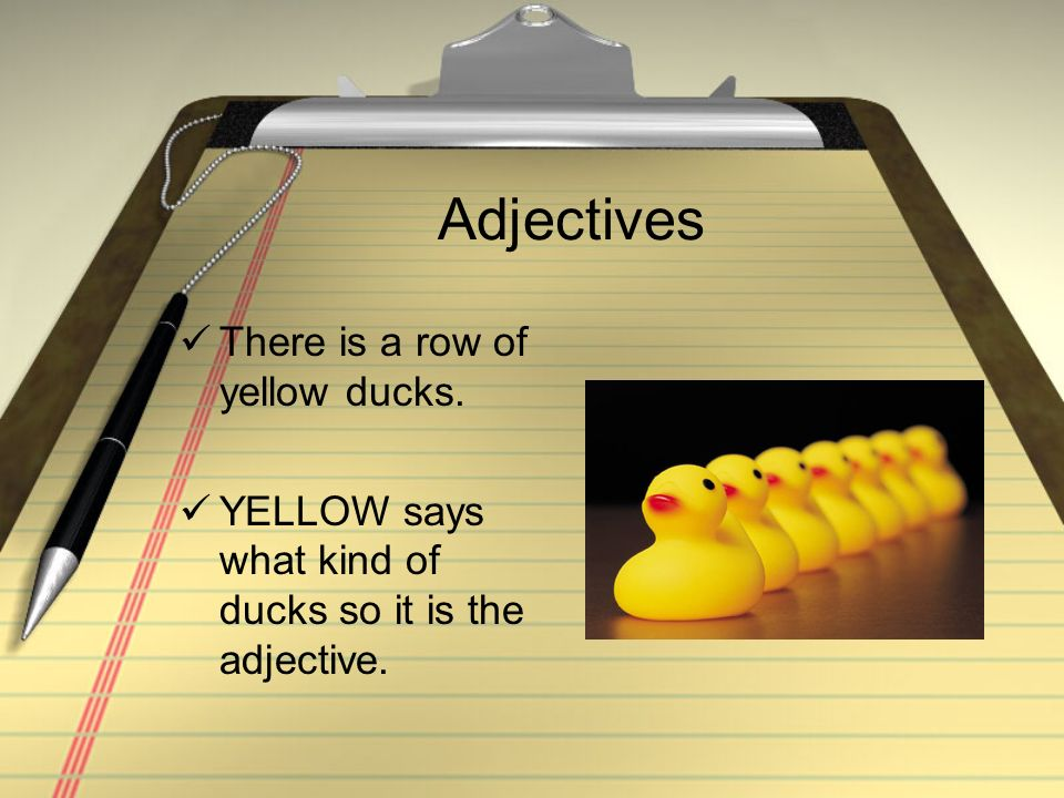 Adjectives There is a row of yellow ducks. YELLOW says what kind of ducks so it is the adjective.